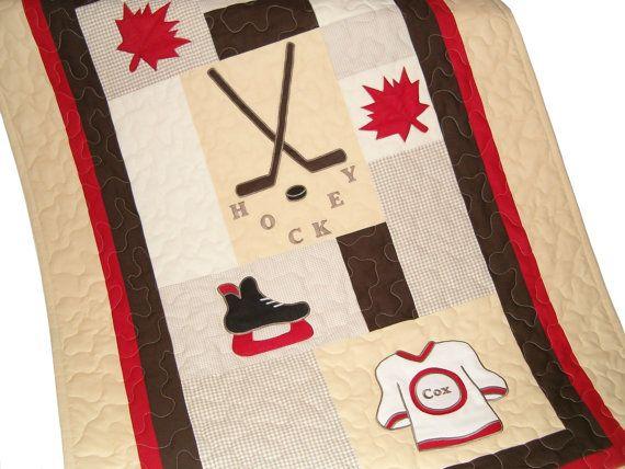 Canadian Hockey  Quilt Sports Quilt  Crib by Customquiltsbyeva
