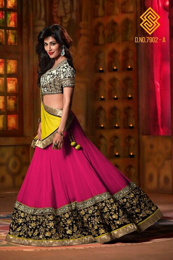#pink and #green #georgette #lehenga only at www.themagicalthread.com