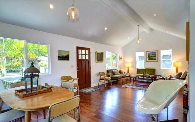 Living Room With Vaulted Ceilings Open Floor Plan And