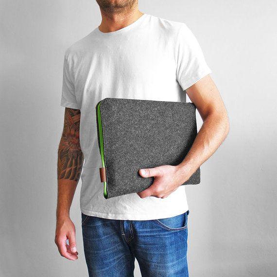 FELT LAPTOP SLEEVE 02 green zipper macbook by PurolDesignBags