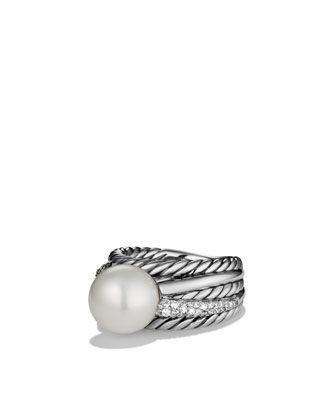 David Yurman Pearl Crossover Wide Ring with Diamonds - Neiman Marcus