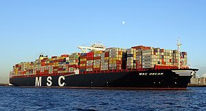 MSC Oscar is owned by Mediterranean Shipping Company (MSC), registered in Panama with a tonnage of 187,362, one of the largest container ships of the world