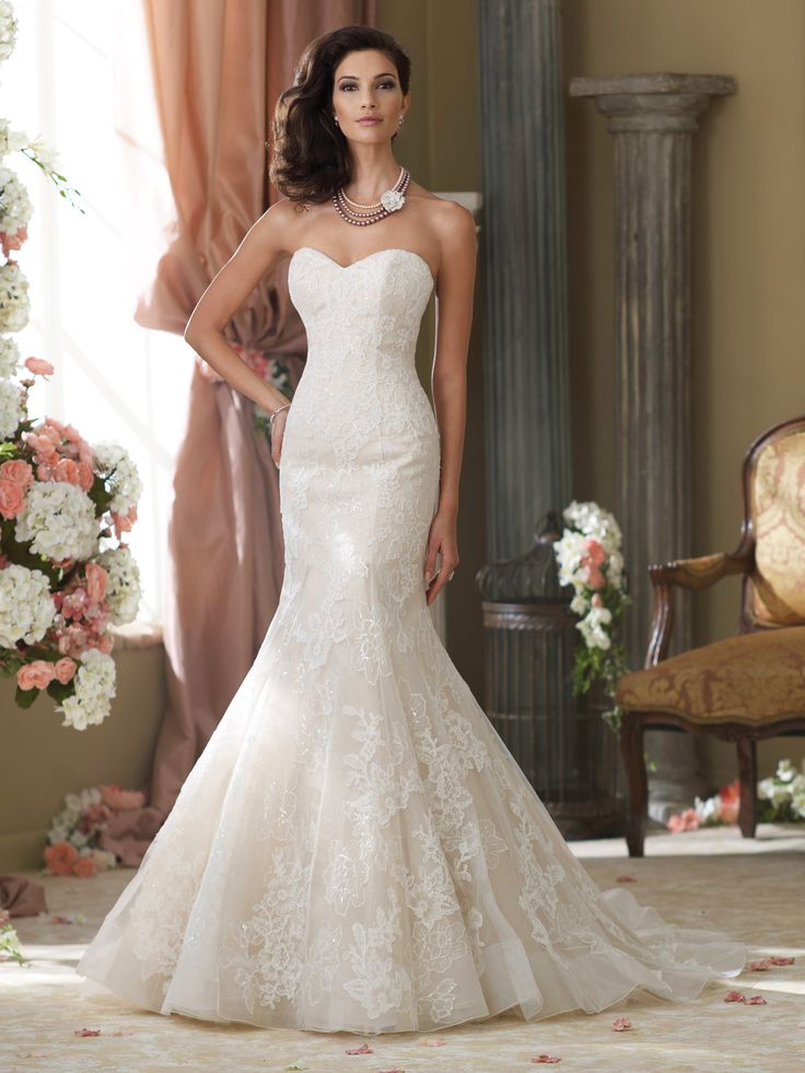 Style 214211, Sanya, is a beautifully crafted trumpet wedding dress designed by David Tutera for Mon Cheri. Click for more information on this style. **Rachel likes because: it would be easy to add a belt if we found an infinity design, still soft and simple**