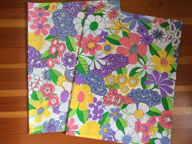 pair vtg burlington house pillowcases retro mod graphic floral 60s fabric bold vintage