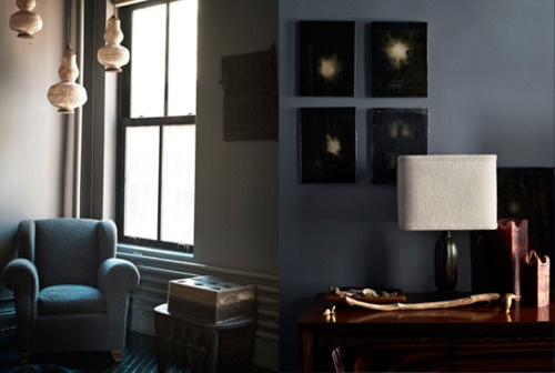 Like the colors: Isager Photo, Interior Design, Living Rooms, Isager Roman 2, Isager Roman Williams 2, Color, Dark Walls, Warm Blues, Light