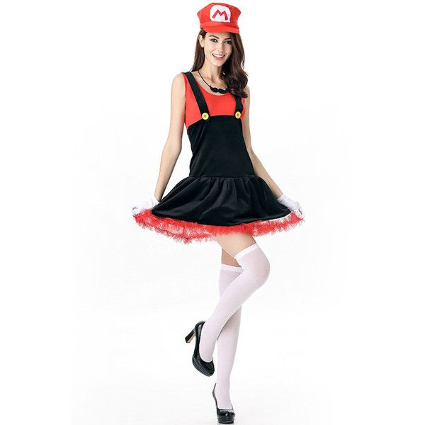 Red Mario Sexy Halloween Costume ($31) ❤ liked on Polyvore featuring costumes, red, mario costume, sexy costumes, white halloween costumes, mario halloween costumes and red halloween costumes