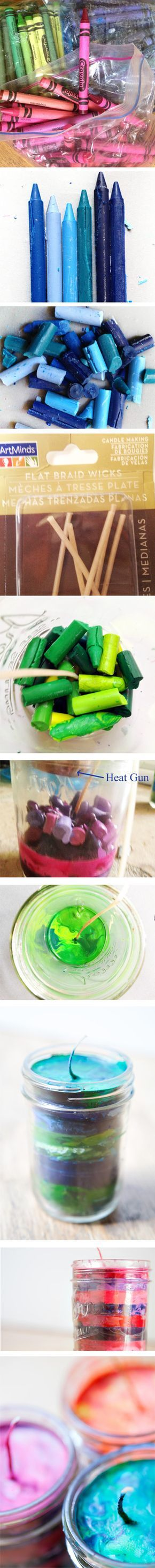 great tutorial on how to make striped crayon candles--pretty!   Now I know what to do with all my old n broken crayons. It also gives me a reason to get new Crayola Crayons. Like I NEED an excuse.  Nothing like the smell of a box of Crayola Crayons :)
