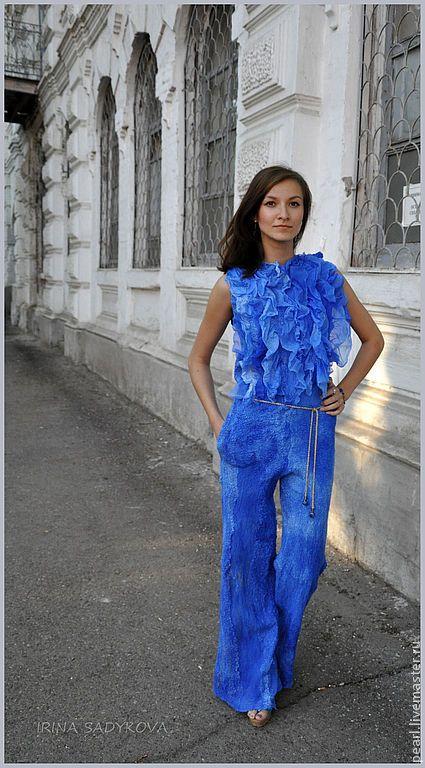 """Купить Комбинезон """"Ослепительный синий"""" - синий, комбинезон, женский комбинезон, вечерняя одежда, вечерний наряд"""
