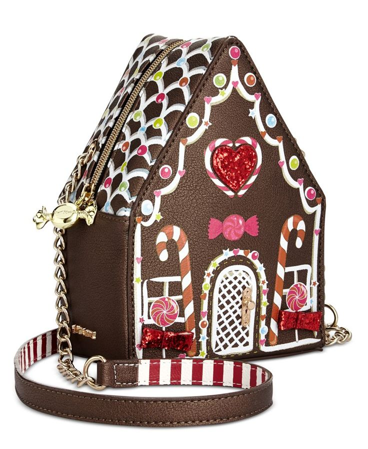 Go colorful and so sweet with Betsey Johnson's mini-sized gingerbread house crossbody, featuring just enough space to hold your keys, coins... and maybe a few pieces of candy. | Faux leather | Importe