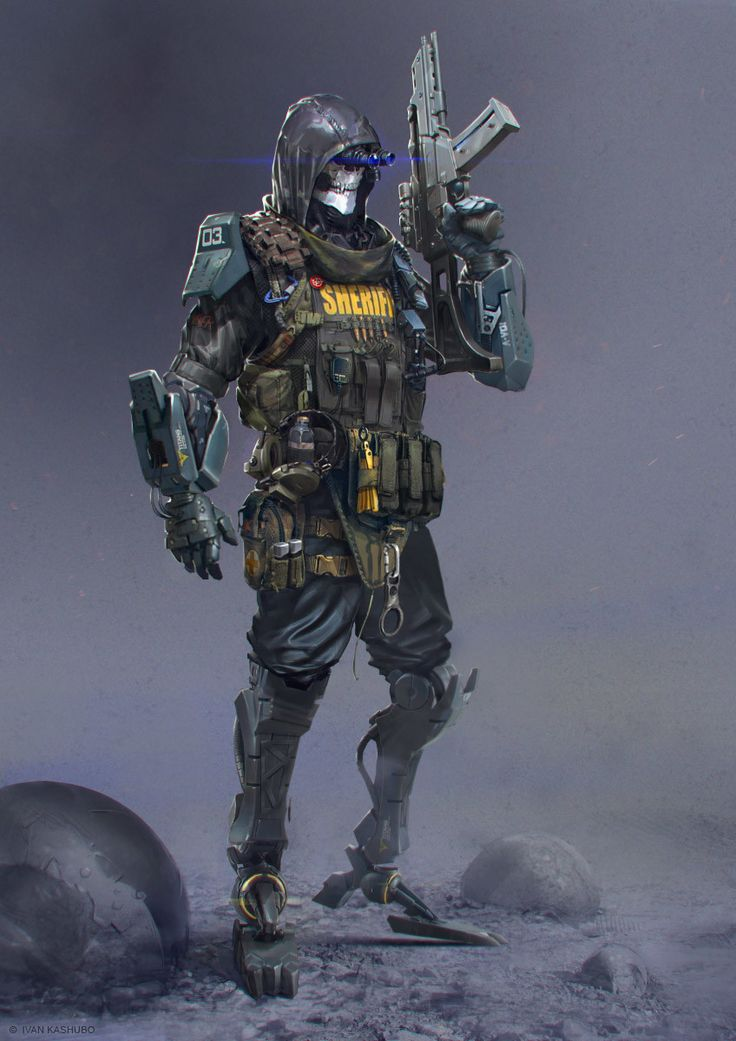 soldier R •concept•, Ivan Kashubo on ArtStation at https://www.artstation.com/artwork/qPzQ2
