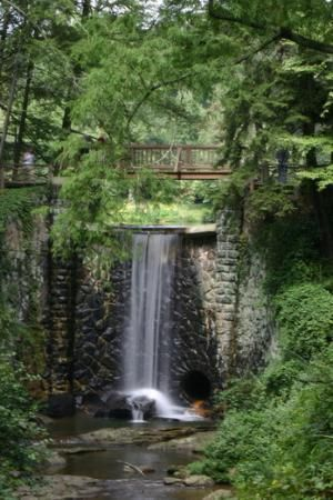 Waterfall at the lower end of Bass Lake on the Biltmore Estate in Asheville, NC