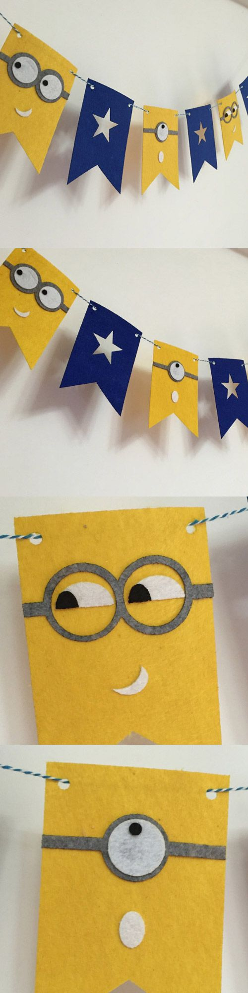 Vector bunting flags lovely celebration card with colorful paper - Felt Birthday Flag Minions Banner Kids Baby Shower Bridal Shower Birthday Party Kid Room Decor Garland