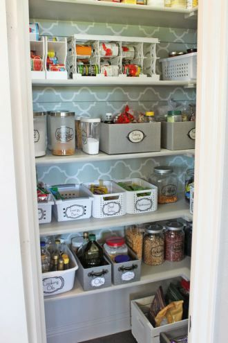 Pantry Organization. I also like the wall paper behind the shelves!