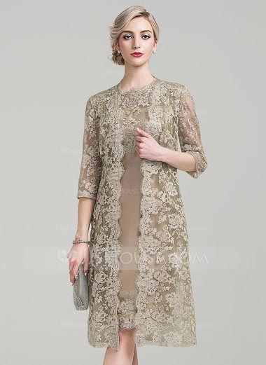 Sheath/Column Scoop Neck Knee-Length Taffeta Mother of the Bride Dress (008085280) - JJsHouse