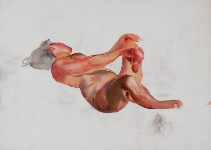 Csernus, Tibor, Backward-facing Lying Nude, Undated, Aquarelle , Paper
