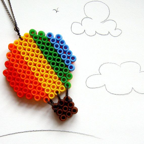 Necklace Hot Air Balloon in Rainbow & Sunset by beadbreath
