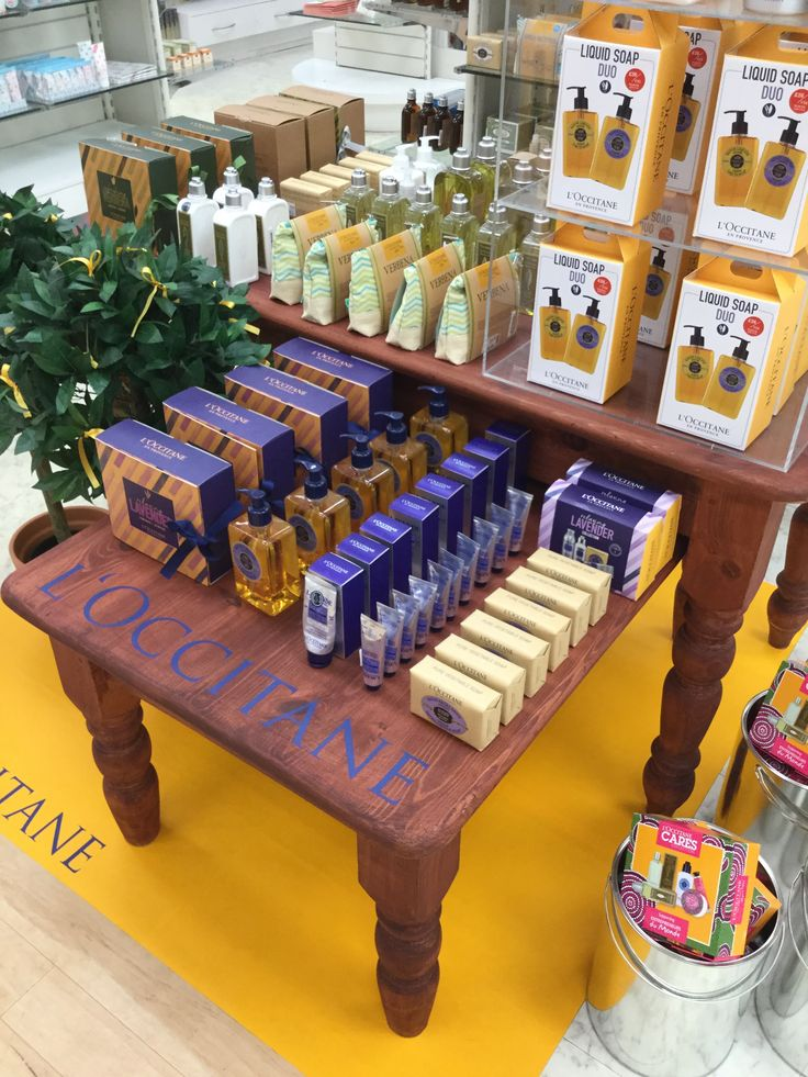 L'Occitane display on the ground floor at Oldrids Boston created by our Visual Merchandising team