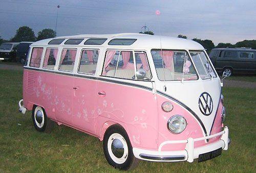 beautiful pink samba bus from the fifties