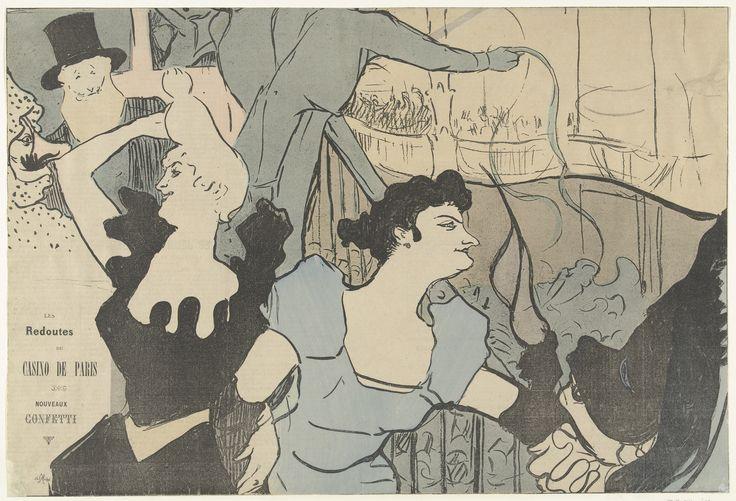 Affiche met aankondiging van gemaskerd bal in Casino van Parijs met portretten van Cha-u-kao en Yvette Guilbert and Les Redoutes du Casino de Paris | Henri de Toulouse-Lautrec | 1892 | Rijksmuseum | Public Domain Marked