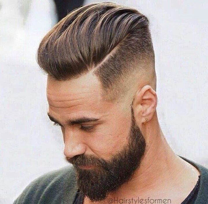 Men hairstyle- undercut with half-shaved head and beard
