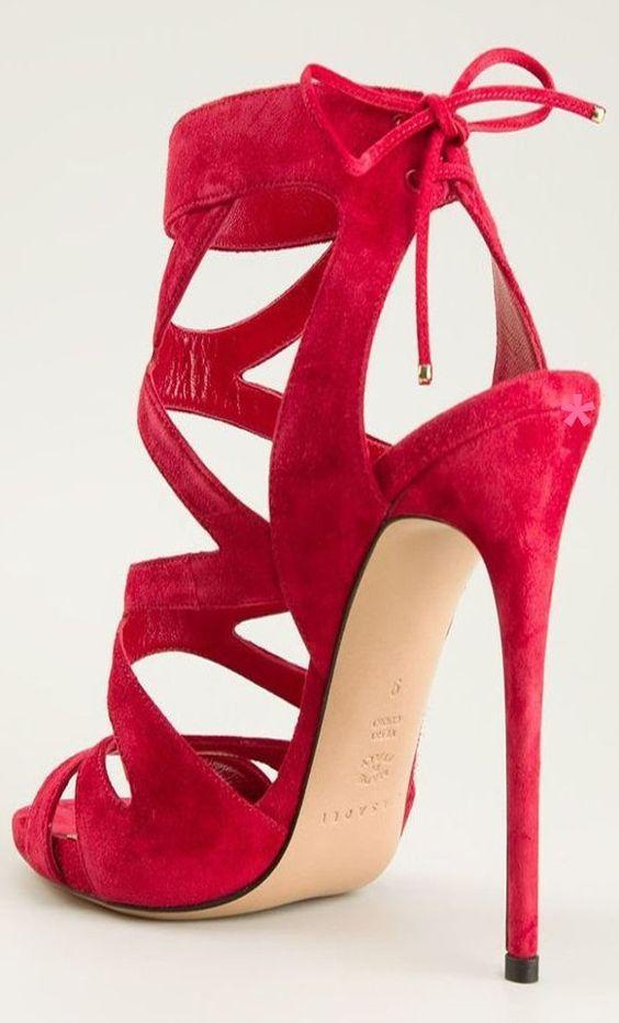 Red open-toe stilettos