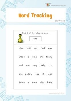 """Visual tracking skills are especially important for reading. In the """"Word Tracking"""" worksheets, the student must scan the rows and look for the same word that is highlighted at the top of the page.  Available at www.visuallearningforlife.com on the Visual Perceptual Sight Words Builder 1 CD."""