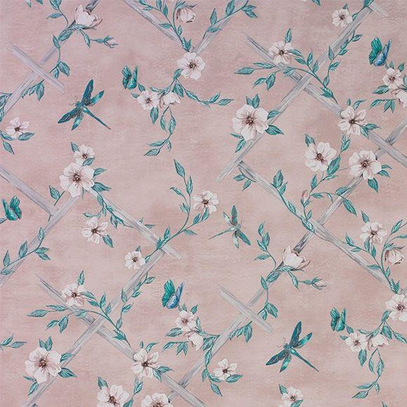 Papier Peint Rosanna Trellis Rose Poudre Collection Belvoir