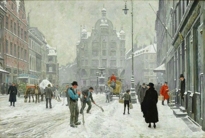 En Vinterdag på Amager Torv af Paul Fischer