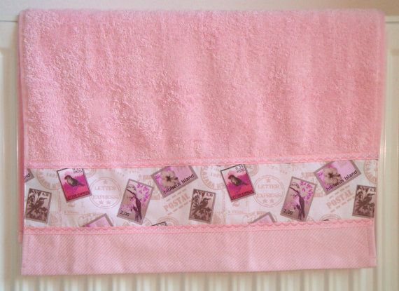 Towel romantic light pink toilet / stamps / by ArmoireDeLaFee