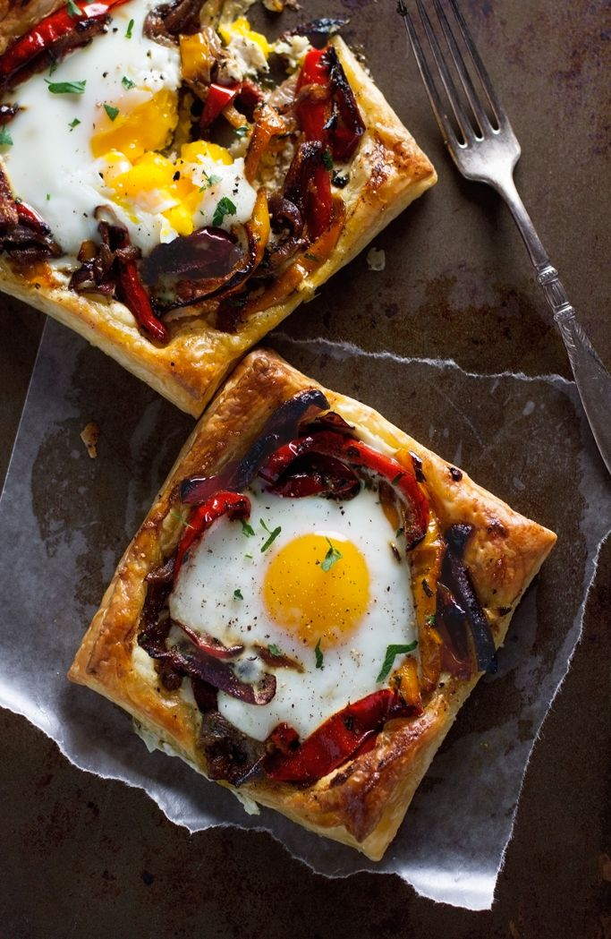 Roasted Red Pepper Baked Egg Galettes - So flavorful and perfect for brunch! #eggs #brunch #breakfast #galettes   Littlespicejar.com