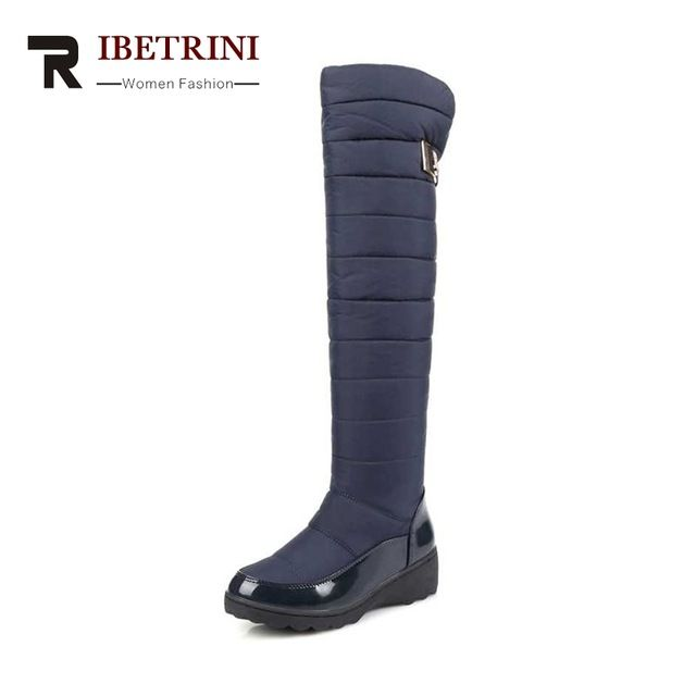 Hot Deals $26.17, Buy RIBETRINI Women's Winter Boots Warm Fur Shoes Woman Over Knee High Snow Boots Slip-On Waterproof Platform Big size 34-43