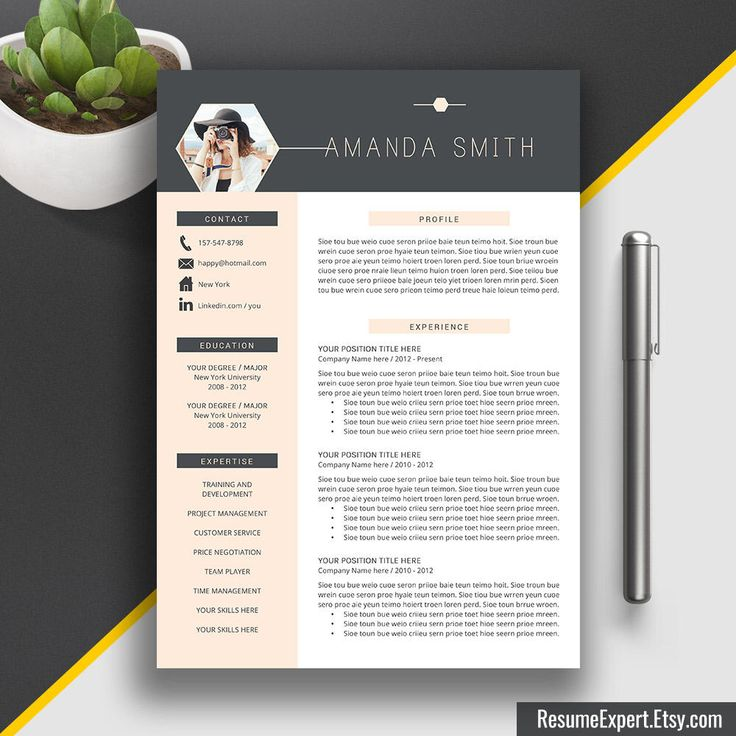 Modern Resume Template, US Letter, A4, Cover Letter, CV Template Word, Professional, Modern, Creative Resume, Instant Download, Amanda S by ResumeExpert on Etsy https://www.etsy.com/listing/262467157/modern-resume-template-us-letter-a4