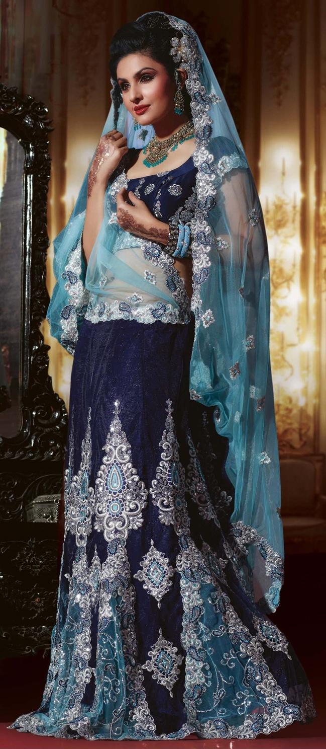 Deep Blue Faux Crepe Lehenga Style Saree