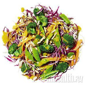 Нарезанная соломкой морковь, брокколи и стручковый зеленый горошек. Шинкованная капуста или кочанный салат. Соус - ½ стакана горчицы — обычной или дижонской, на твой вкус  2 ст. л. меда  1 ст. л. воды  2 ч. л. лимон.сока  2 ст. л. олив. масла