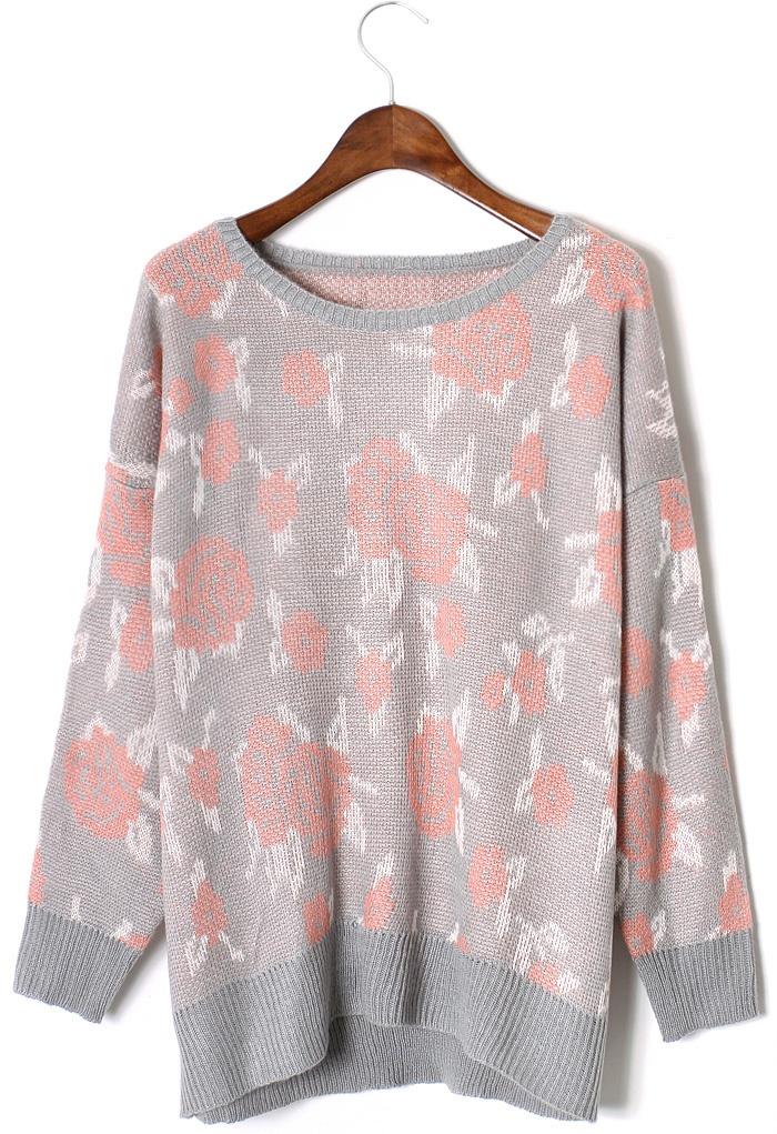 Rose pattern fairisle jumper in smoke retail therapy