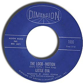 "A 45 rpm record of ""The Loco-Motion,"" Little Eva's No. 1 hit of 1962, on the Dimension record label."