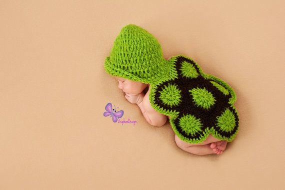 Crochet Turtle Beanie Hat Outfit Newborn Crochet by StephanDesign