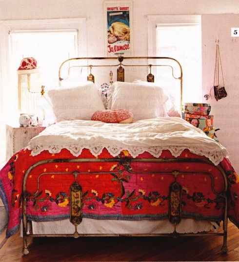 Best A Bohemian Bedroom With An Old Wrought Iron Bed A Red 400 x 300