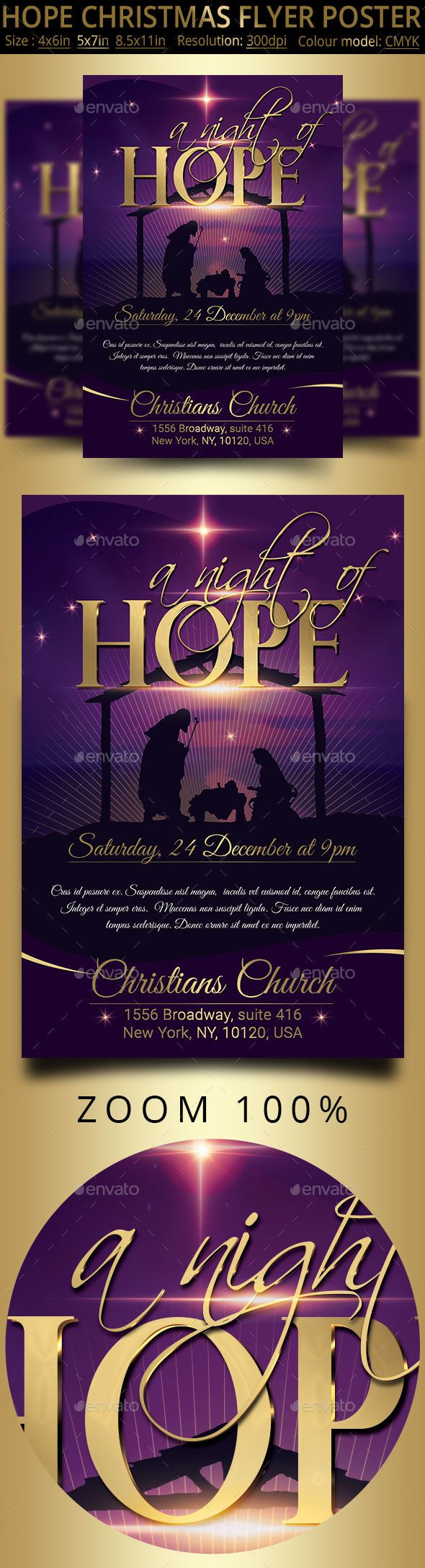 Hope Christmas Flyer Poster #celebration #music  • Download here → https://graphicriver.net/item/hope-christmas-flyer-poster/21108393?ref=pxcr