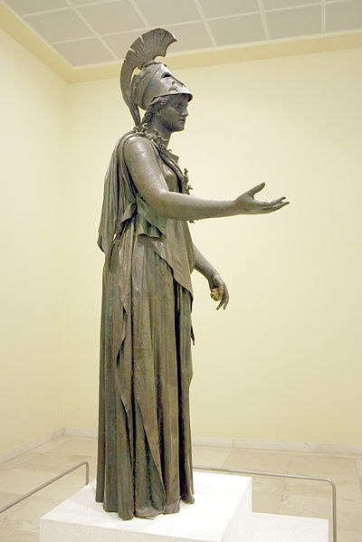 """The statue of the """"Piraeus Athena"""" in the Archaeological Museum of Piraeus (Athens). The work has been given to either Kephisodotos or Euphranor (4th century B.C.), or deemed to be a Hellenistic-era creation in classicizing style. Picture by Giovanni Dall'Orto"""