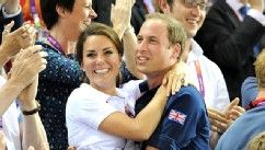 Catherine, Duchess of Cambridge and Prince William, Duke of Cambridge embrace after Philip Hindes, Jason Kenny and Sir Chris Hoy of Great Britain win the gold in the men's team sprint track cycling  at Velodrome, Aug. 2, 2012.