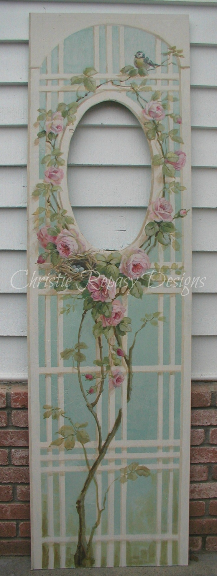 C.Repasy~ painted rose lattice for my booth at The Vintage Marketplace show March 1st,2nd&3rd 2013