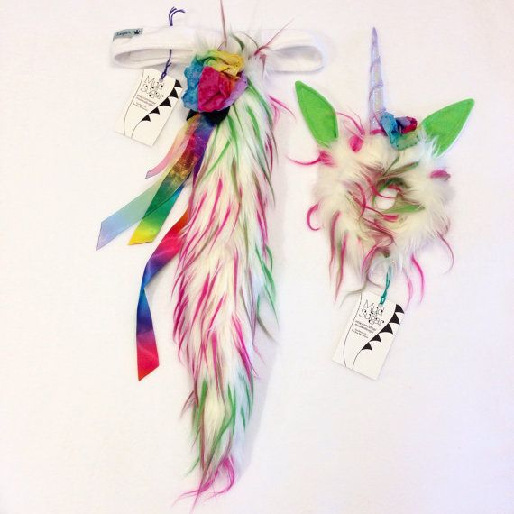 Unicorn Costume Unicorn Tail and Headband. by mudandsugar on Etsy