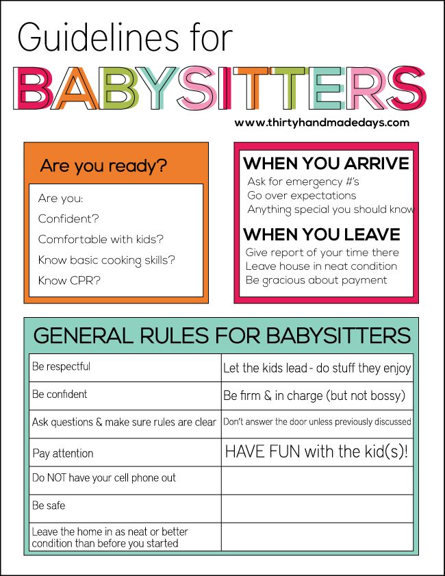 guidelines for babysitters