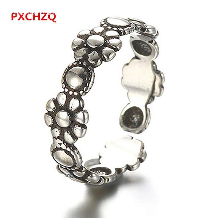 Новый Тайский национальный ветер женский раздел простые черные и серебряные ювелирные изделия популярные ретро подсолнухи ромашка безымянный палец кольцо