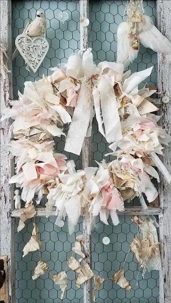 Wreath Burlap & Lace Wreath Pastel Fabric Wreath Shabby