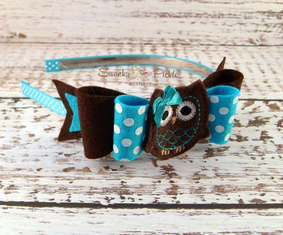Turquoise Brown Headbead - Wool Felt Bow Headband - Polka Dot Headband - Girls Fall Headband -  Fall Thanksgiving Headband - Photo Prop