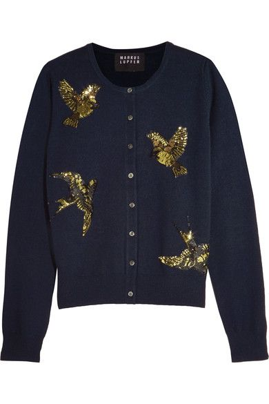 Markus Lupfer April sequin-embellished merino wool cardigan $475 Midnight-blue merino wool Button fastenings through front 100% merino wool Hand wash Imported