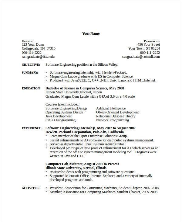 Computer Science Undergraduate Resume Interesting Essay English Writing Tutoring Of 27 Adorable Computer Internship Resume Computer Science Science Internships