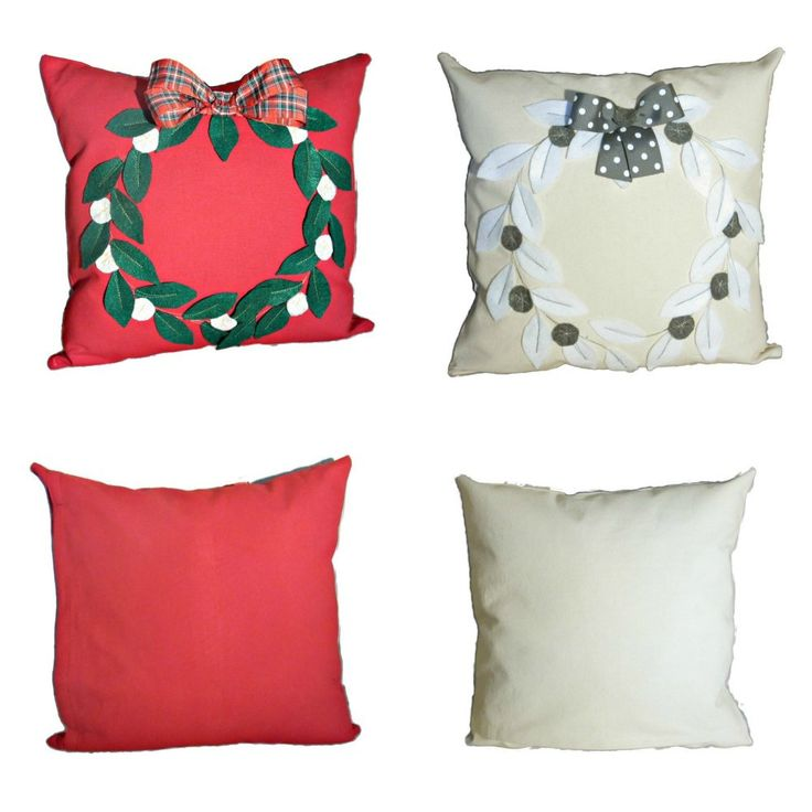 holiday accent pillow cover, Christmas pillow red, Xmas traditional pillow cover, Christmas wreath pillow, plaid bow holiday red pillow by GinaArtHouse on Etsy